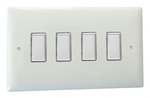 Varilight JOT104C Value Polar White 4 Gang V-Pro Multi-Way Touch Master LED Dimmer 0-100W